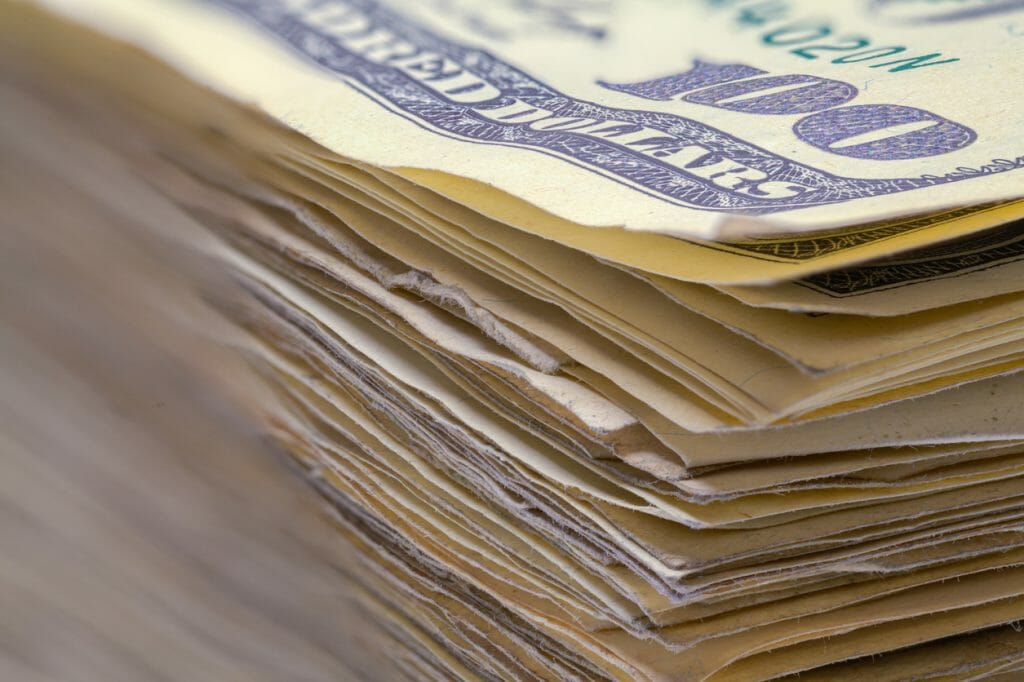Unclaimed money stacked