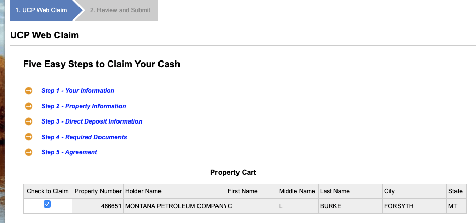 Montana unclaimed property claim page